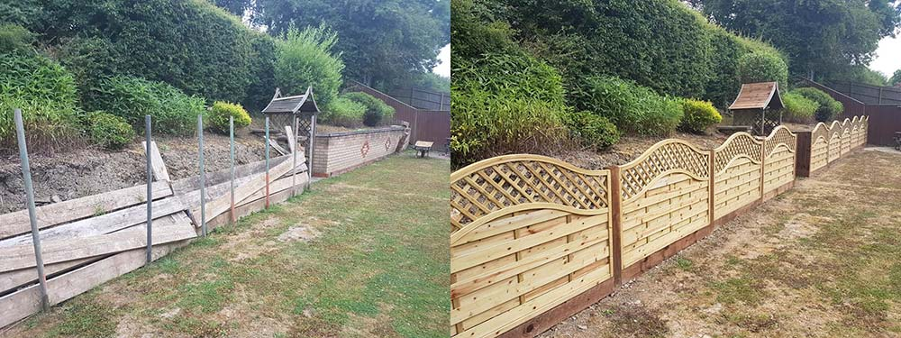 Before and after shot of a fance installation in corby northamptonshire with removal of brick wall and old fencing