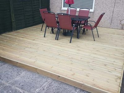 patio installation on patio in back garden in corby