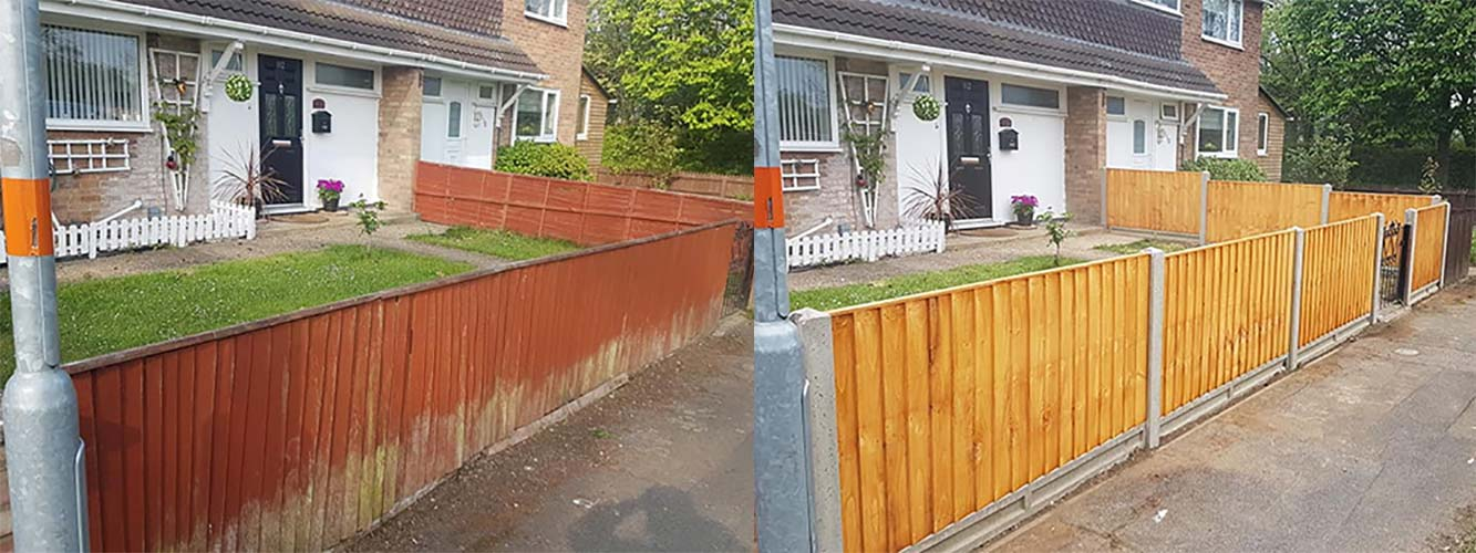 residential fencing installation and replace of a 3 foot standard feathered edge front garden fence to a new one with concrete gravel boards to avoid rot