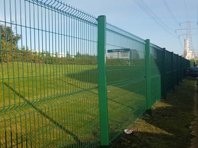 Green industrial security fencing installed in Corby