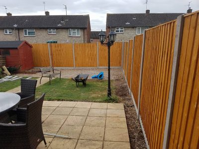 6 foot feathered edge fencing installed in large residential garden in Corby
