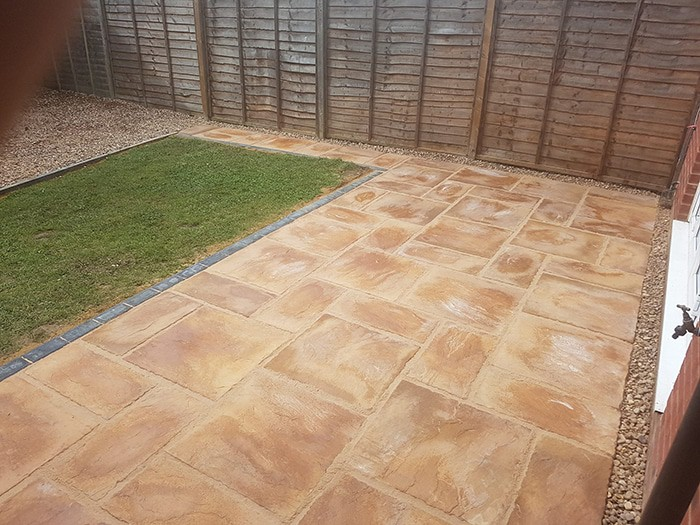 paving installed in corby of slabbing flush finish